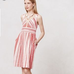 Anthro Postmark red & white striped poppy dress